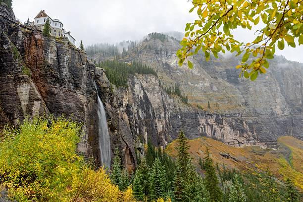 Misty Bridal Veil Falls stock photo