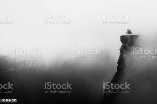 Photo of misty canyon with sharp cliff iin Delika