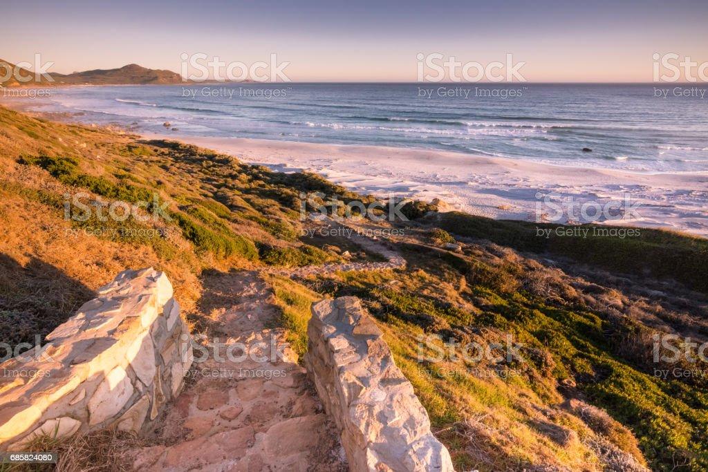 Misty Cliffs beach near Scarborough, South Africa stock photo