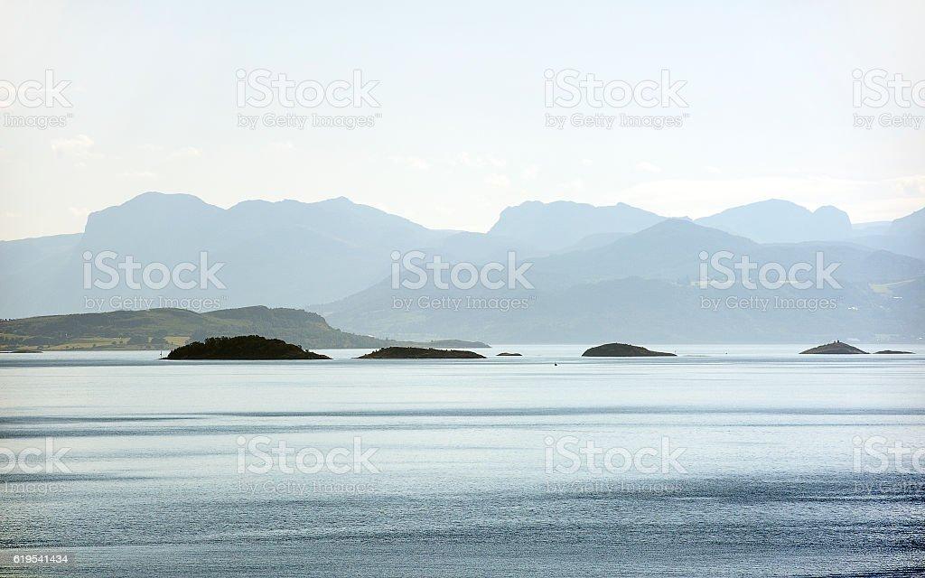 Misty coastline, Aalborg, Denmark stock photo