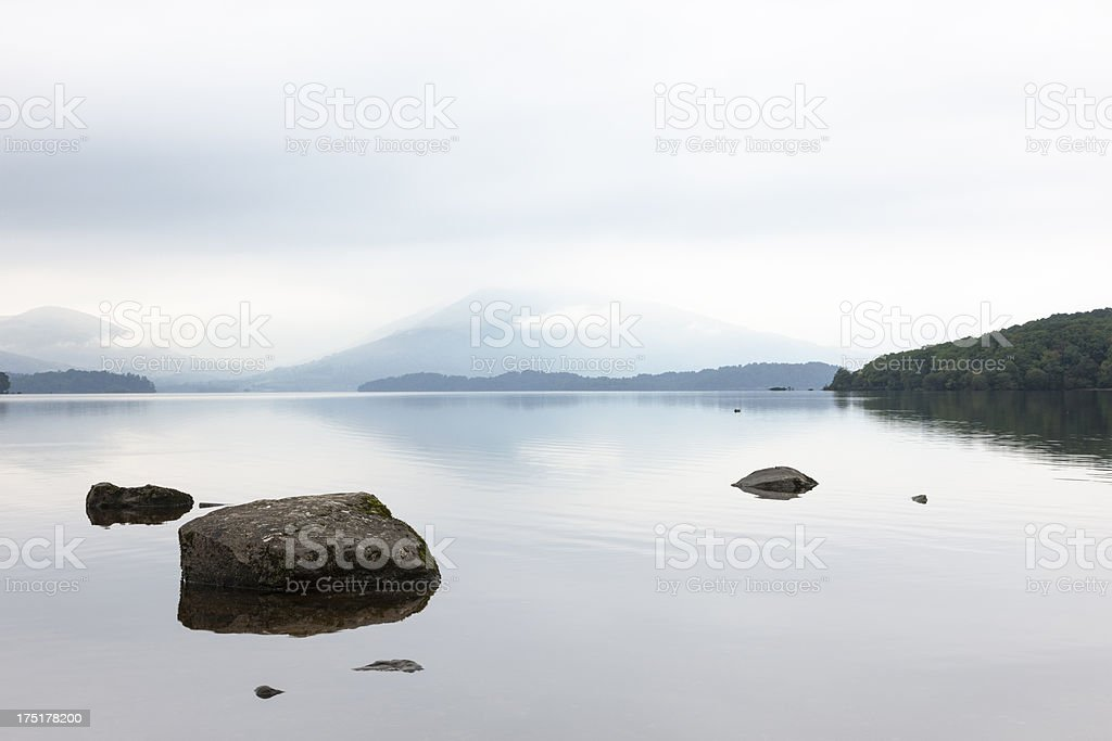 Misty Dawn On Loch Lomond royalty-free stock photo