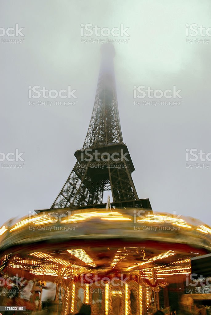 Misty Eiffel tower on a cold day royalty-free stock photo