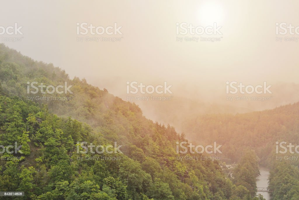 Misty fog on trees and river with morning sun, Czech landscape stock photo