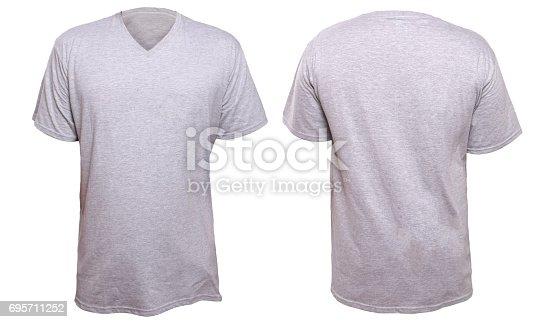 956902000 istock photo Misty Grey V-Neck shirt design template 695711252