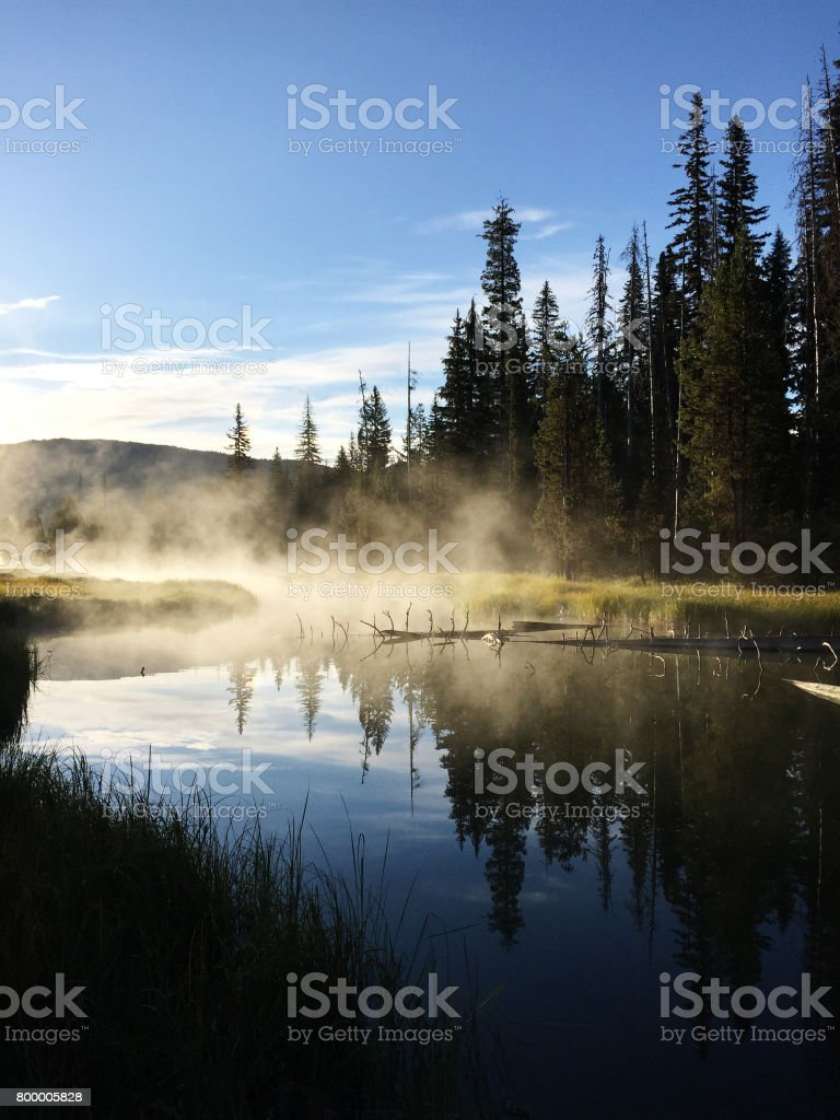 Misty Headwaters of the Deschutes River at Little Lava Lake, Oregon stock photo