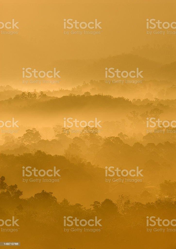 Misty hilly area. royalty-free stock photo