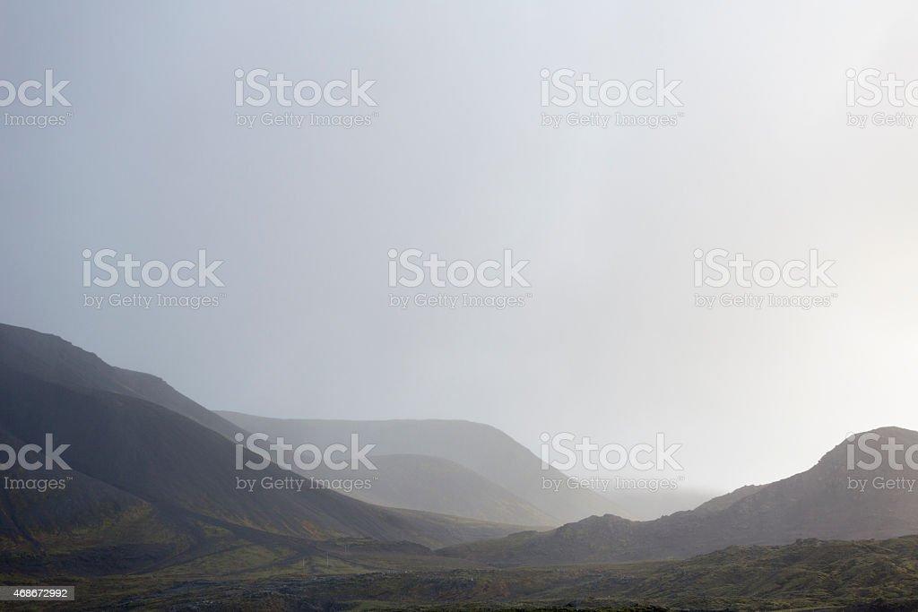 Misty Icelandic landscape stock photo