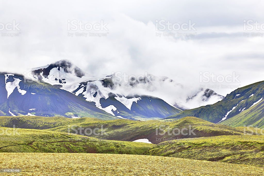 misty icelandic mountain range stock photo