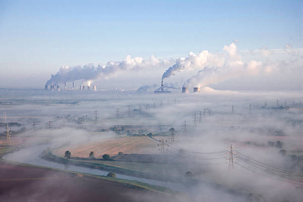 Misty industrial landscape aerial. stock photo