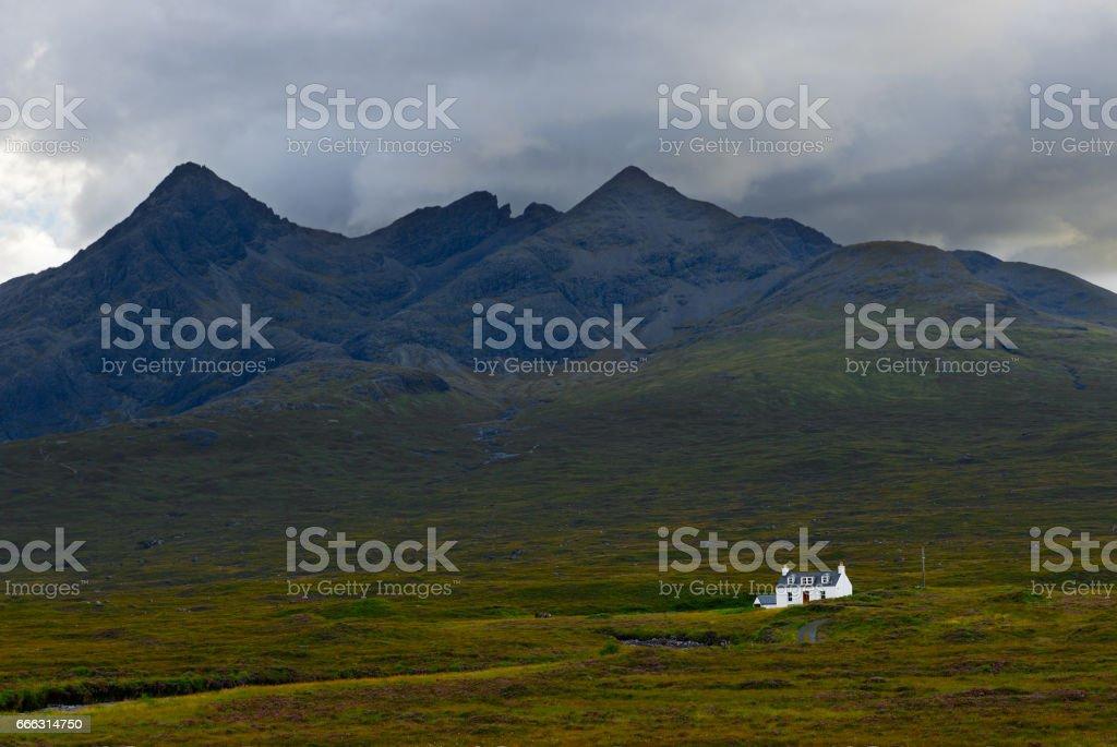 Misty Isle of Sky mountains stock photo