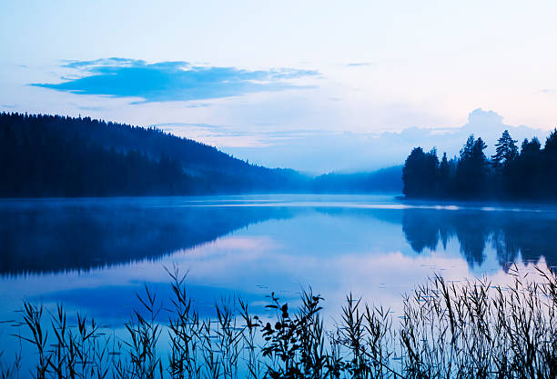 misty lake - finland stock pictures, royalty-free photos & images