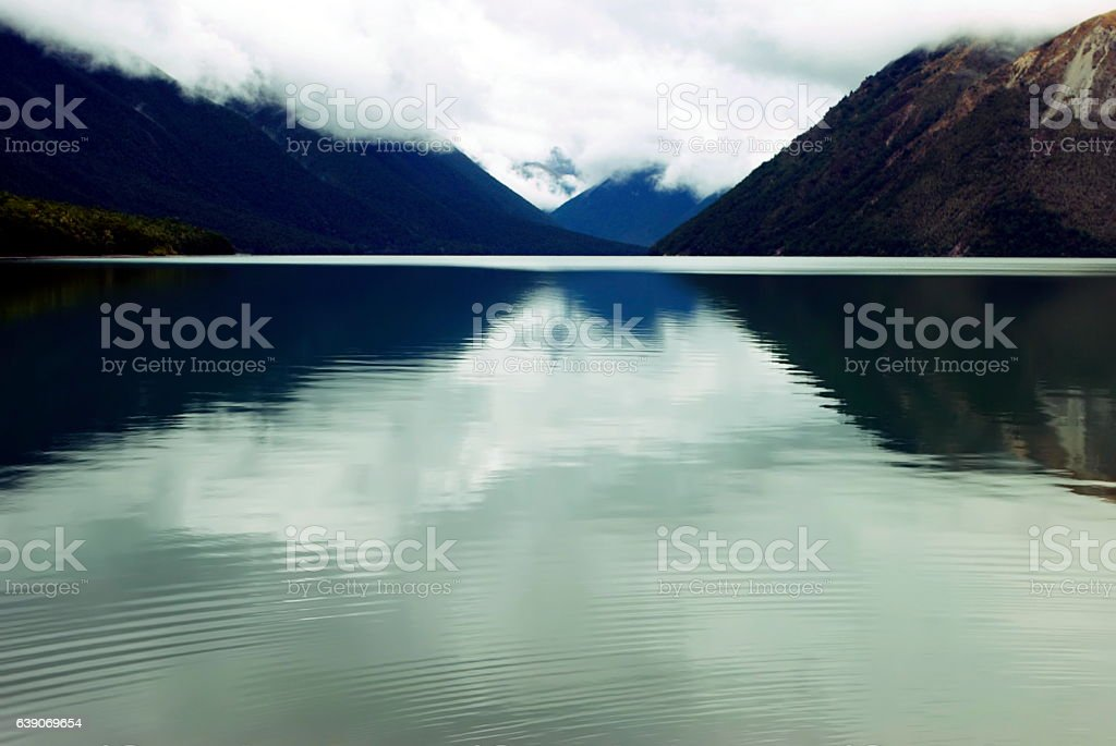 Misty Lake-Scape Reflection stock photo