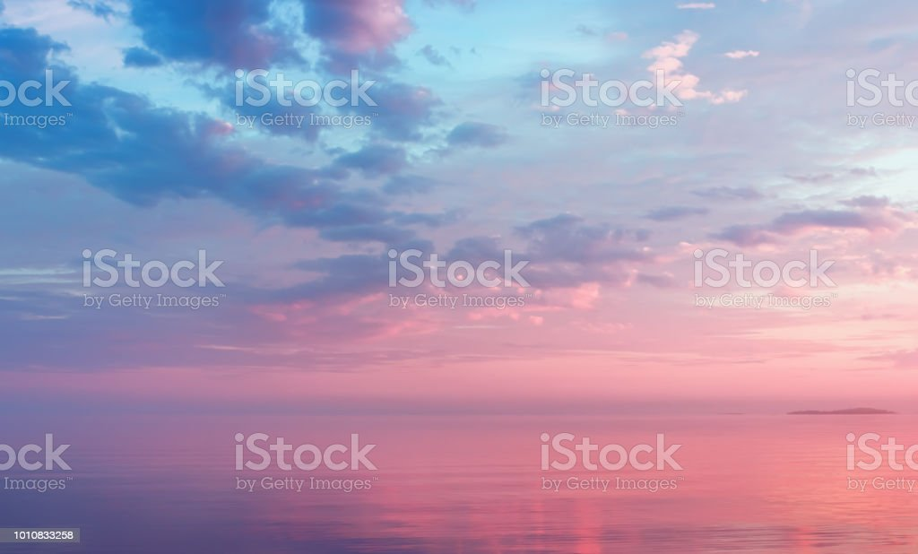 Misty Lilac Seascape With Pink Clouds royalty-free stock photo