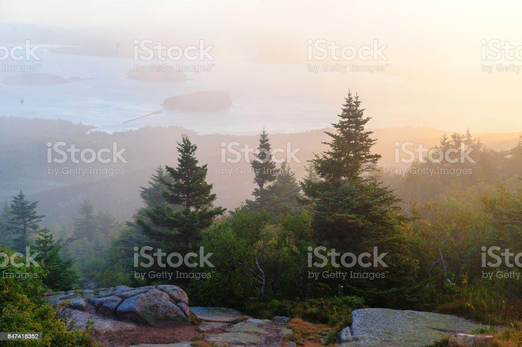 Misty morning Cadillac Mountain stock photo