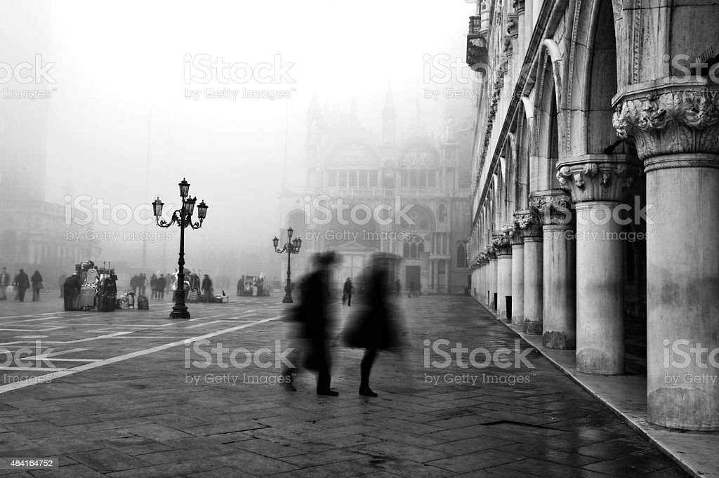 Misty morning in St Mark's Square, Venice stock photo