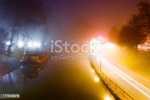 istock Misty morning in Toulouse, Canal du Midi, France 177540679