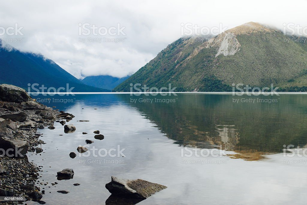 Misty Morning Lake with Reflection stock photo