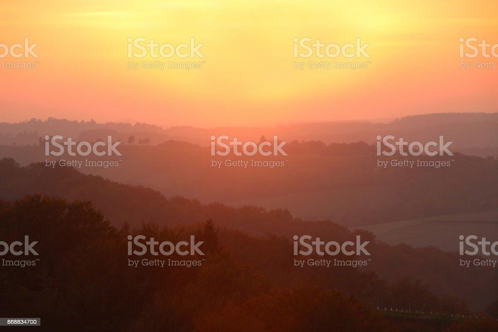 Misty morning landscape stock photo