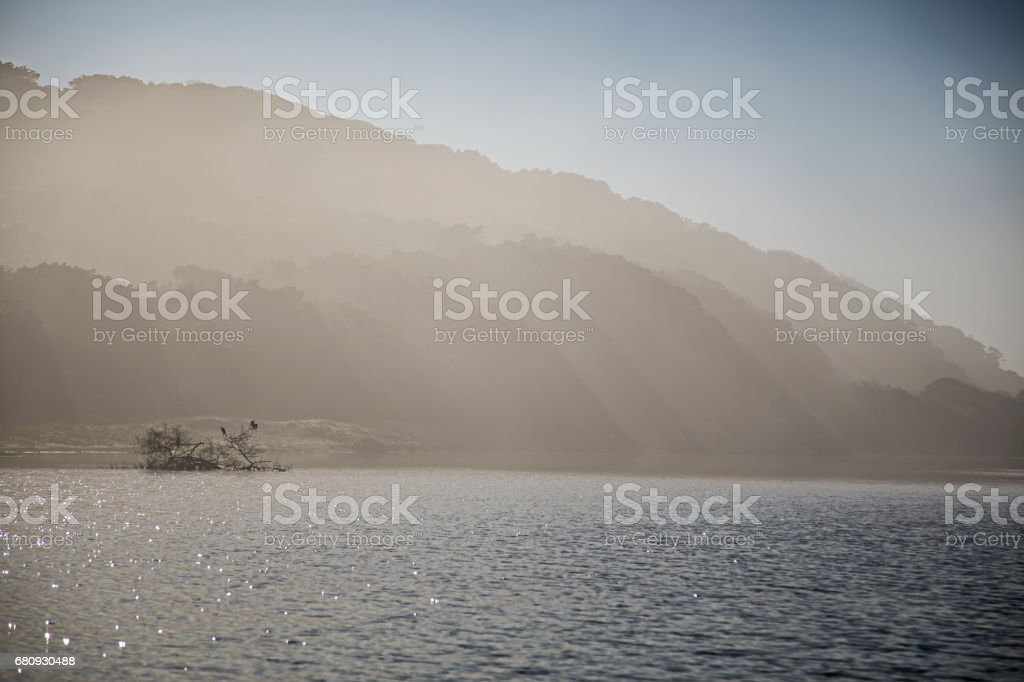 Misty Morning Mountains stock photo