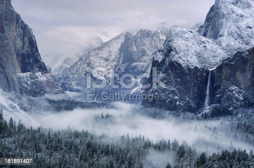 Misty morning on Bridalveil Falls in Yosemity National Park