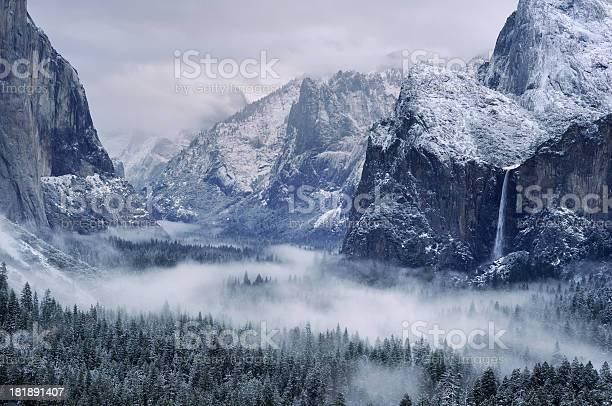 Photo of Misty morning on Bridalveil Falls in Yosemity National Park