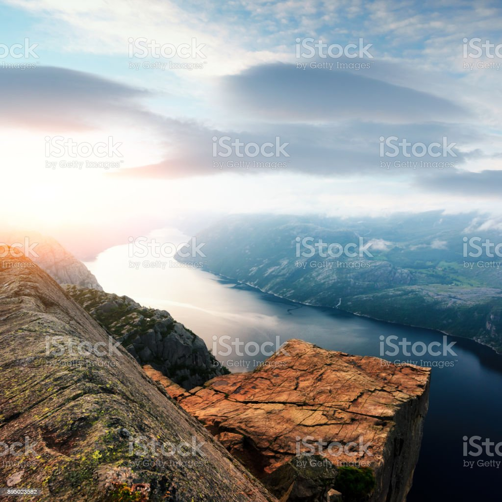 Misty morning on Preikestolen stock photo