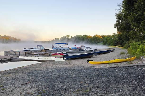 Misty morning on the lake stock photo