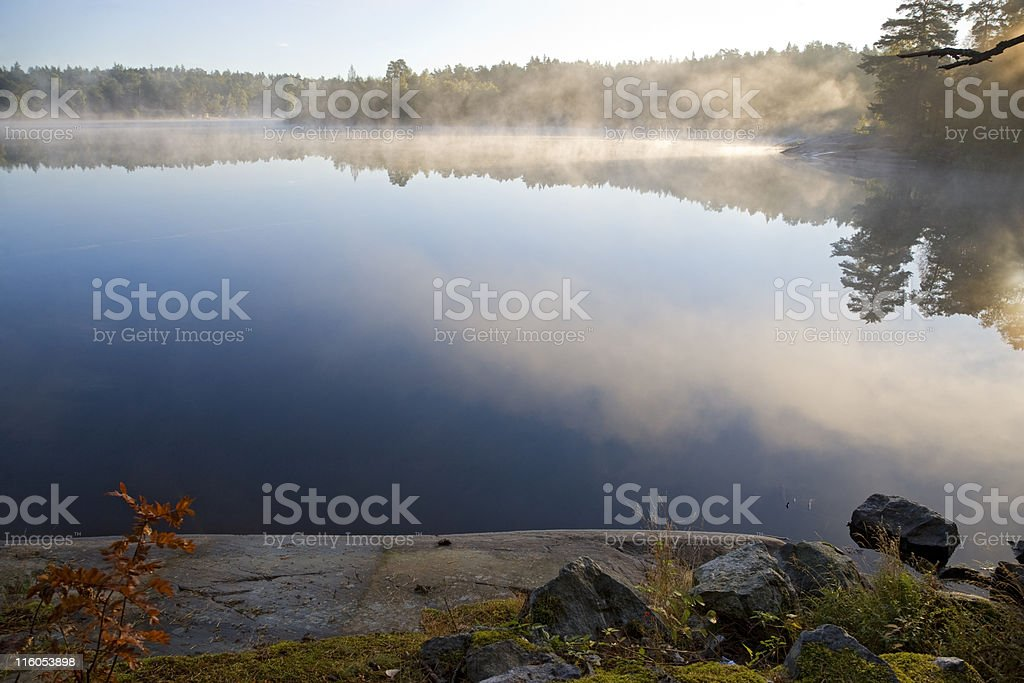 Misty morning on the Stockholm archipelago royalty-free stock photo