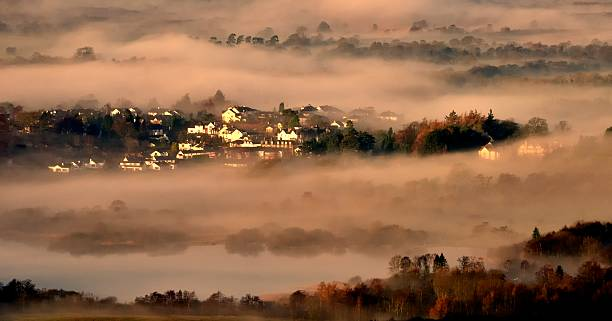 Misty Morning over Keswick stock photo