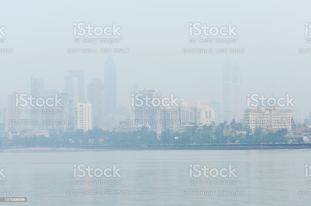 Misty morning over Mumbai Skyline stock photo