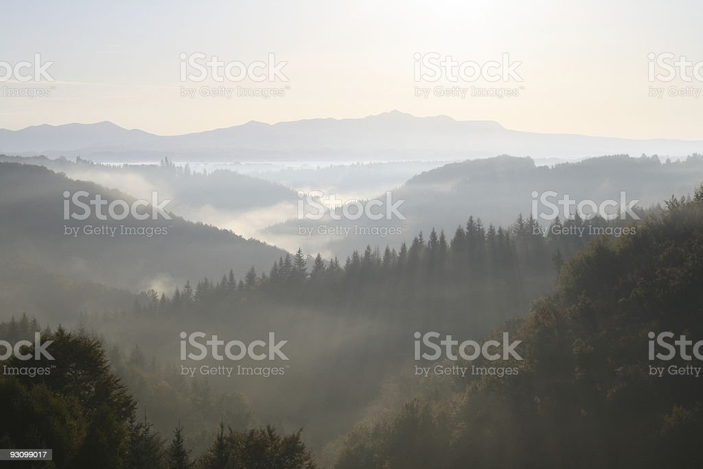Misty Morning Sun on Mountains and Hills royalty-free stock photo