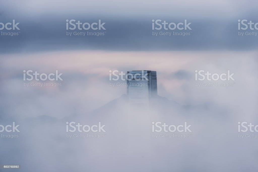 Misty morning view of Victoria harbor stock photo