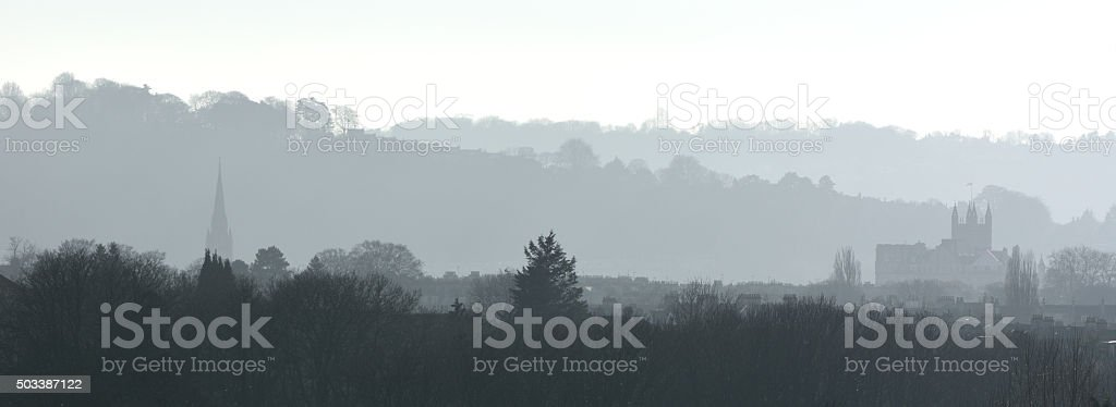 Misty morning view over Bath with Abbey stock photo