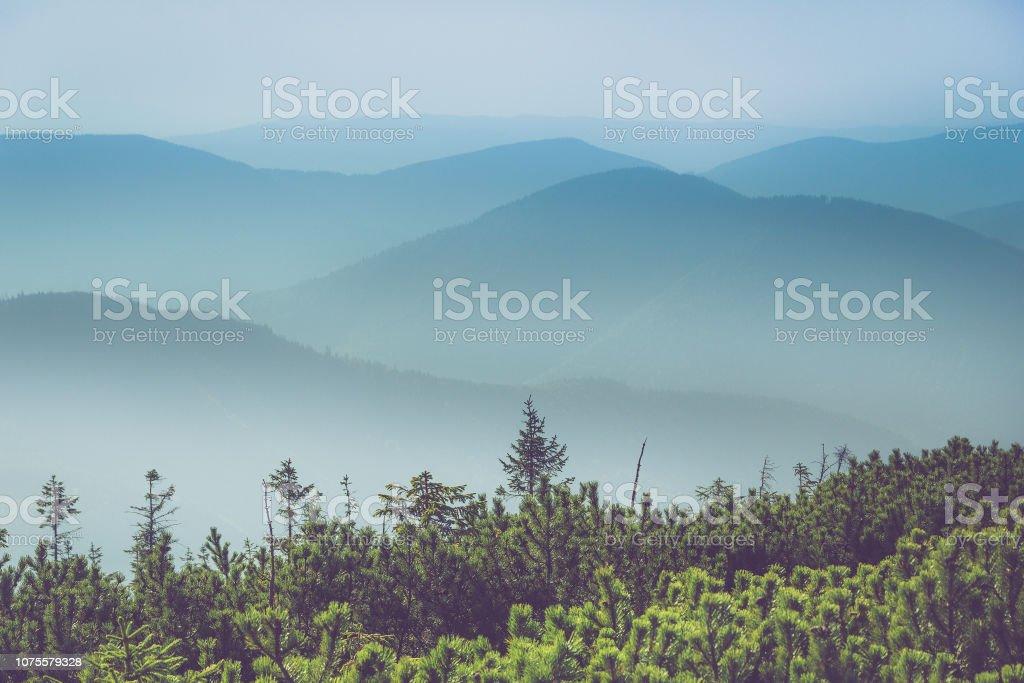 Misty Mountain Hügel-Landschaft. Blick auf Schichten von Bergen und Nebel in den Tälern. – Foto