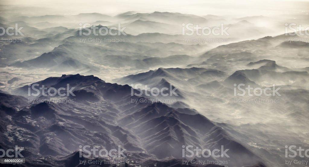 Misty mountain horizon stock photo