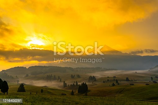Sunrise with Fog at Alpe Di Suisi