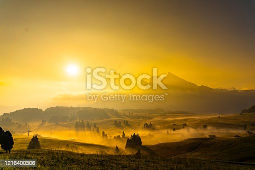 Sunrise with Fog at Alpe Di Suisi