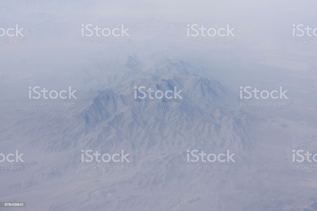 Misty mountains aerial photo. stock photo