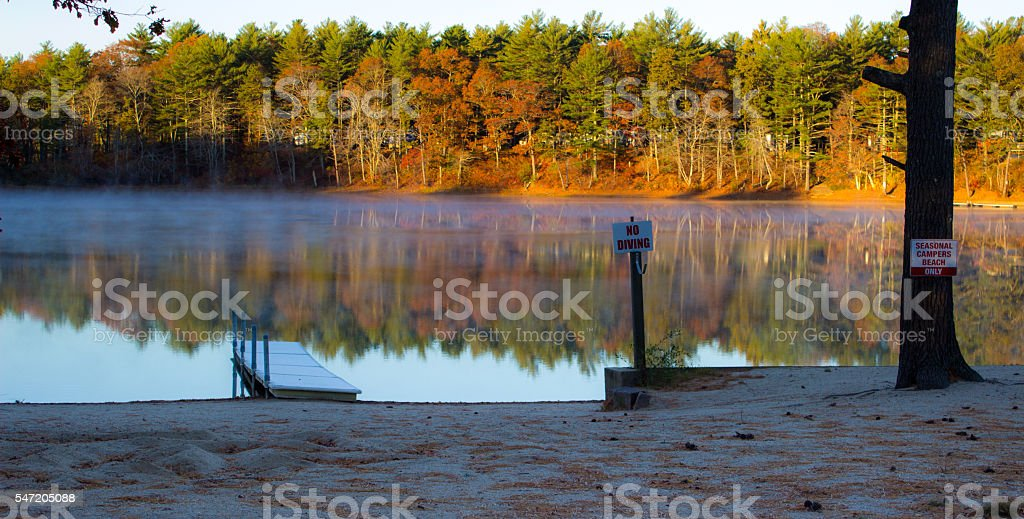 Misty New England Autum Pond stock photo