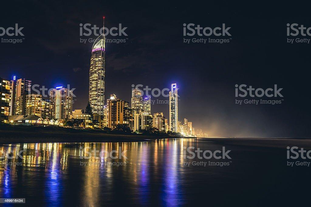 Misty nighttime depiction of the Gold Coast stock photo