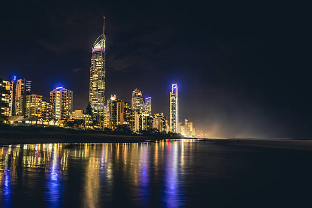 Misty nighttime depiction of the Gold Coast stock photo