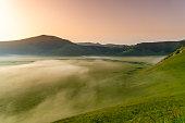 Foggy Piano Grande di Castelluccio (Perugia, Umbria, Italy), famous plateau in the natural park of Monti Sibillini