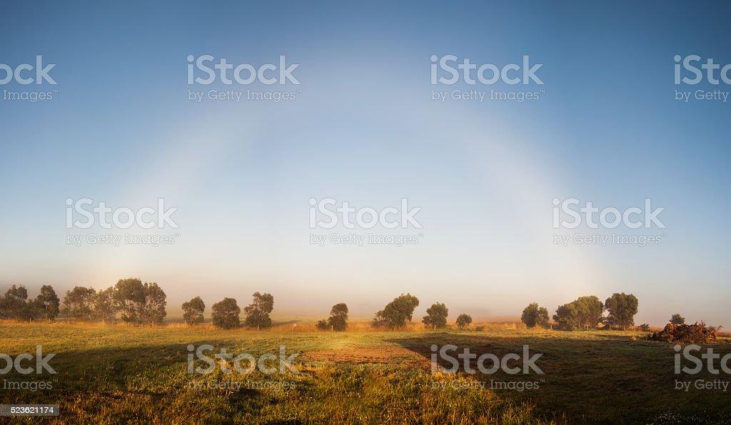 Misty rainbow. stock photo