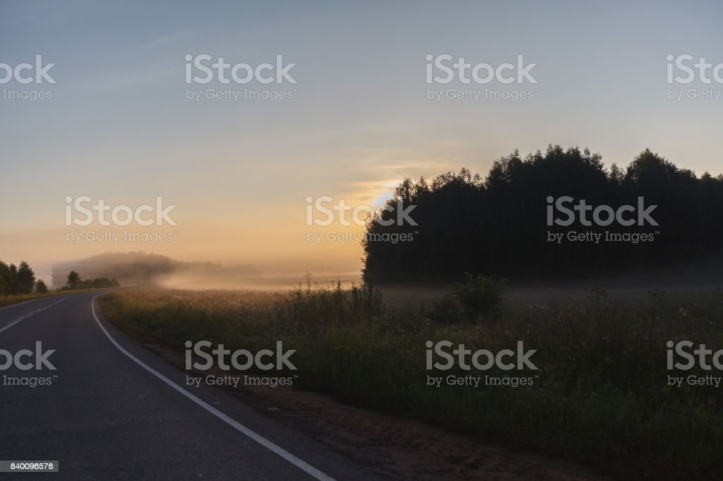 misty road through green fields with road signs and low visibility stock photo