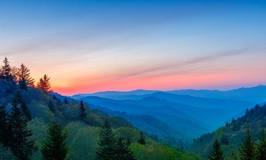 Sunrise at Oconoluftee Valley Overlook, Great Smoky Mountains National Park, North Carolina