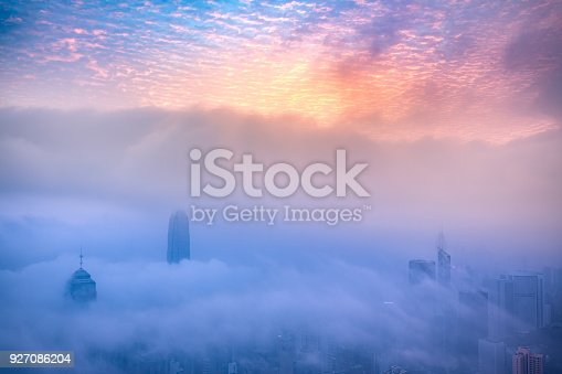 istock Misty season in Hong Kong lookout from The Peak 927086204