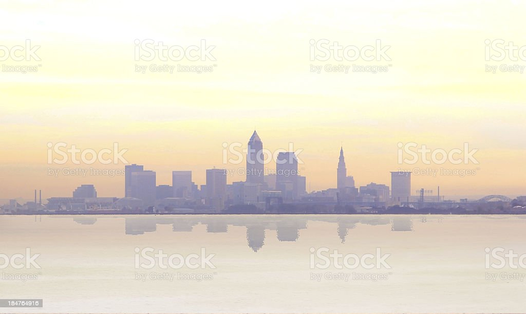 Misty sunrise in Cleveland stock photo