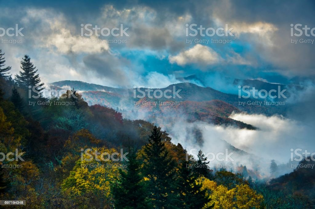 Misty Sunrise in Great Smoky Mountains National Park stock photo