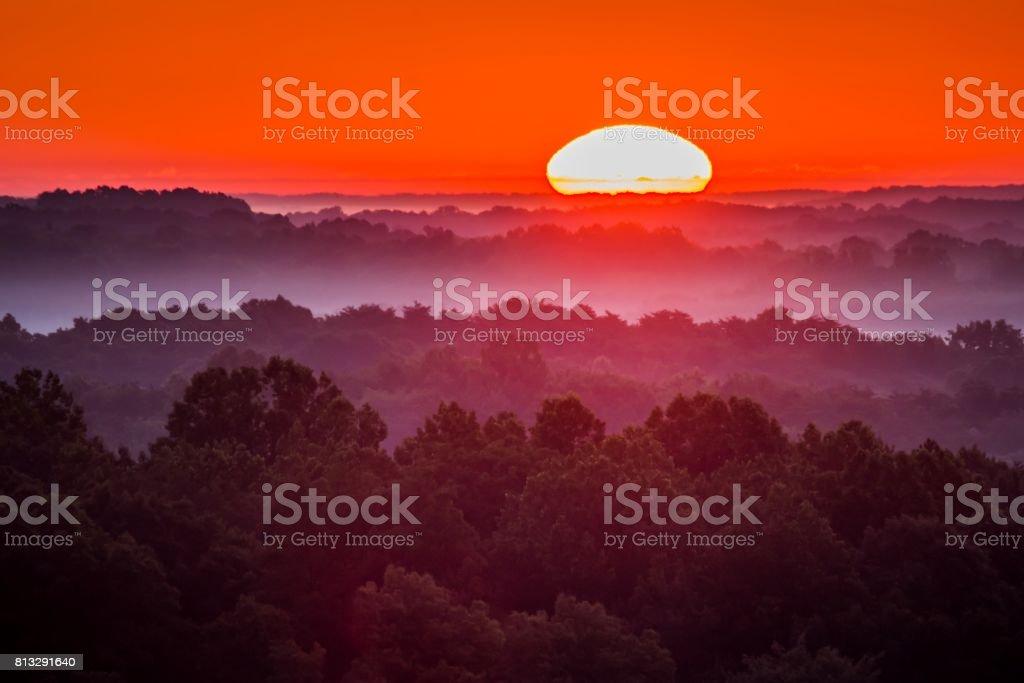 Misty Sunrise in Ohiio stock photo