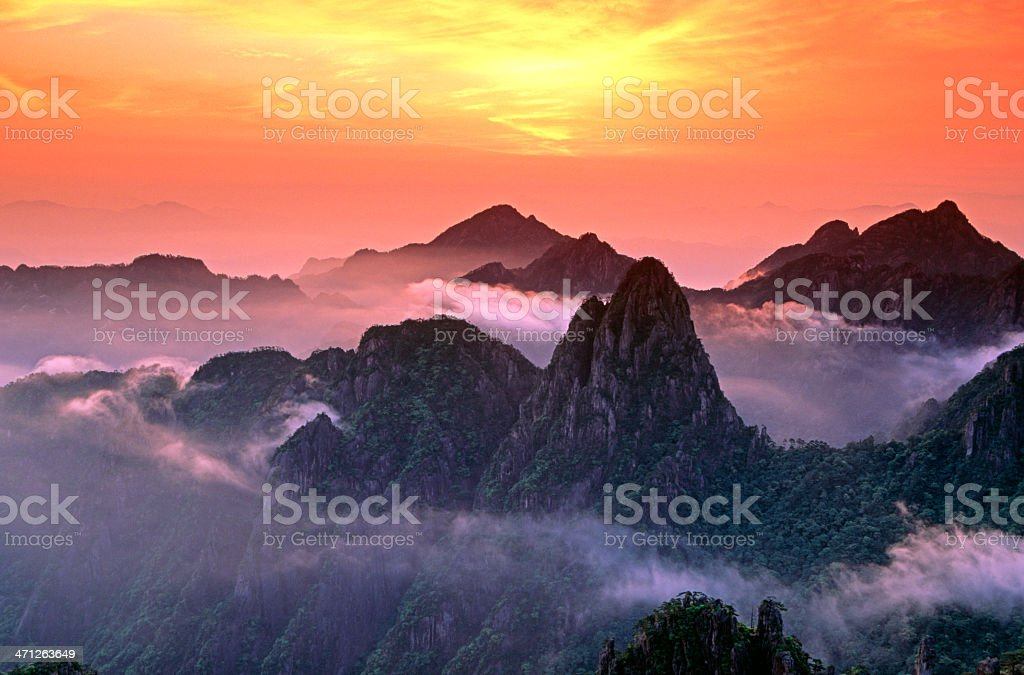 misty sunrise over Mount Huangshan royalty-free stock photo